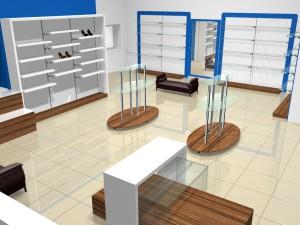 Торговое оборудование для магазинов обуви коллекция СИНИЙ ВЕТЕР