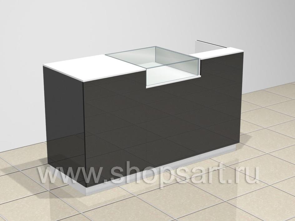 c354f101cfa7e Стол кассовый со стеклянным прилавком, размер стола 1100х1900х600 мм.  Материал: ЛДСП, высокоглянцевый МДФ.