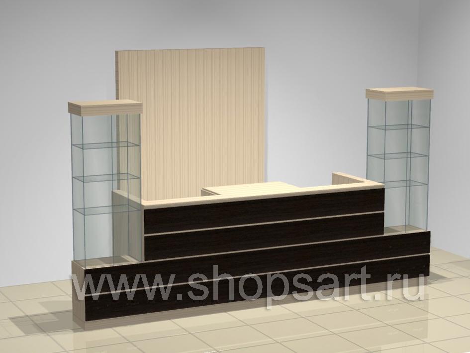 43c6ce265af35 Размер стола: 1100х2200х550 мм. Материал: ЛДСП (любой цвет). По бокам  кассового стола располагаются стеклянные витрины для выкладки товара.