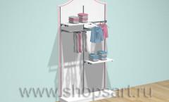 Торговая мебель стеллаж для одежды Премиум