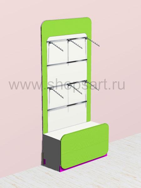 Стеллаж для одежды в декоративной раме с навеской и накопителем 4 Акварели