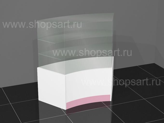 Прилавок для парфюмерии радиусный 1170х1190х500мм.