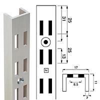Стойка перфорированная / Channel N-112Глубина: 11 ммКол-во в упаковке (в розницу продается поштучно): 10 шт.Высота, мм / цвет: 1890 / хром2400 / хром2400 / сатин