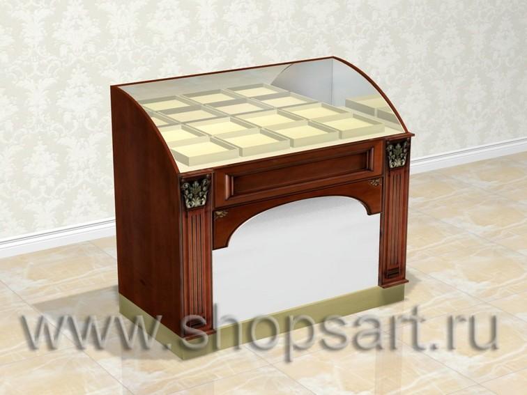 Прилавок ювелирный, классический с радиусным стеклом.