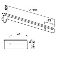 Кронштейн для полок / NX-22Кол-во в упаковке (в розницу продается поштучно): 10 шт. Глубина, мм/ цвет: 150 мм / хром 200 мм / хром 300 мм / хром 300 мм / сатин