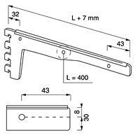 Кронштейн для полок усиленный / NX-24Кол-во в упаковке (в розницу продается поштучно): 10 шт. Глубина, мм/ цвет: 400 мм / хром500 мм / хром 500 мм / сатин