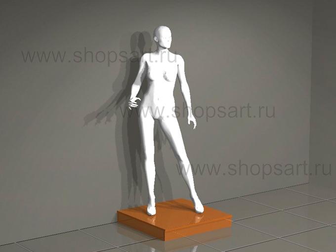 Манекен женский белый глянец на подиуме
