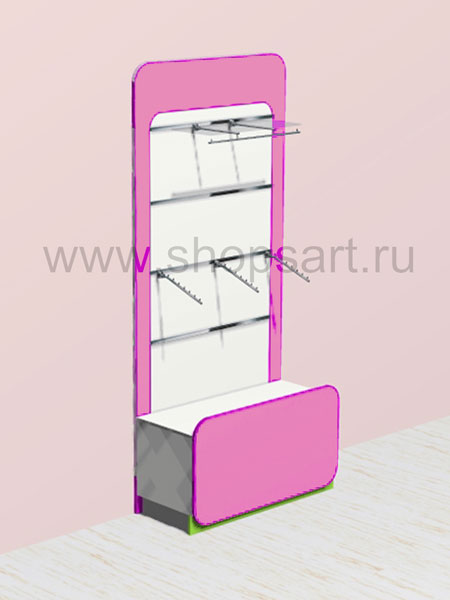Торговое оборудование для детских магазинов стеллаж для одежды Акварели