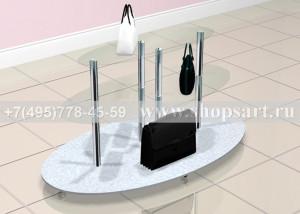 Стол для демонстрации сумок островной1800х1000х800мм. (полки стекло), основание ЛДСП на колесах.  Цена от 25000,00 рублей.