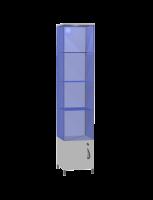 Витрина стеклянная узкая Витрина стеклянная с напителем из ЛДСП, с освещением, 3 полки стекло, регулируемые опоры, возможность перестановки полок на разные высоты.  Возможные размеры (мм): Длина/Глубина/Высота 600/600/2200 500/500/2200