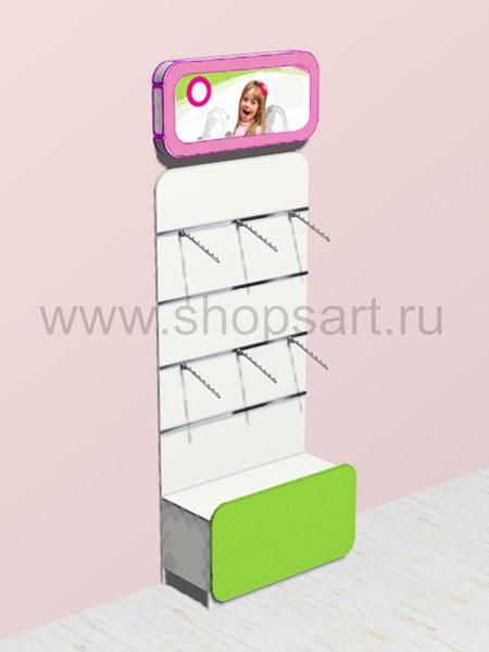 Стеллаж для одежды со световым коробом, навеской и накопителем 3 Акварели
