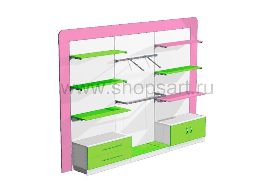 Блок стеллажей в декоративной раме с выдвижными ящиками и распашными дверками 2 Акварели