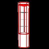 Витрина угловая итрина на основе каркаса из алюминиевого профиля с наполнением из ЛДСП, ДВП и стекла с освещением, 3 полки стекло, регулируемые опоры, возможность перестановки полок на разные высоты.  Возможные размеры (мм): Длина/Глубина/Высота 300/300/1800 400/400/2000 500/500/2200