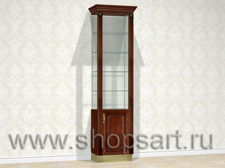 Витрина ювелирная, стеклянная с классическими колоннами из массива дерева.