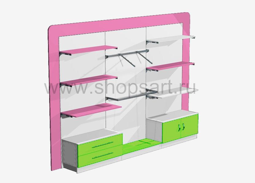 Блок стеллажей в декоративной раме с выдвижными ящиками и распашными дверками Акварели