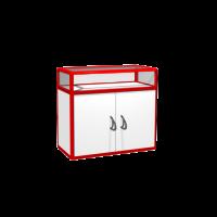 Прилавок остекленный Прилвок на основе каркаса из алюминиевого профиля с наполнением из ЛДСП и стекла, регулируемые опоры.  Возможные размеры (мм):  Длина/Глубина/Высота  700/400/900  800/500/-  900/600/- 1000/-/