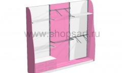 09. Блок стеллажей с декоративными боковыми стенками и выдвижными ящиками.