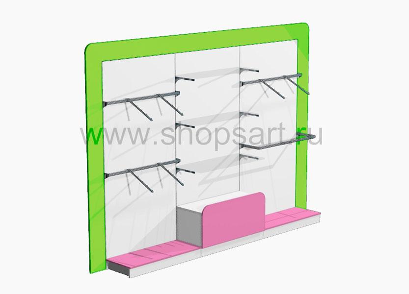 Блок стеллажей в декоративной раме с выдвижным ящиком Акварели