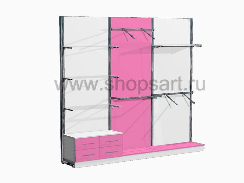 Стеллажи торговые с выдвижными ящиками Розовая фантазия