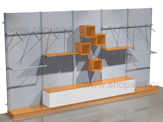 Пристенные стеллажи с накопителем торговое оборудование АТЛАНТА