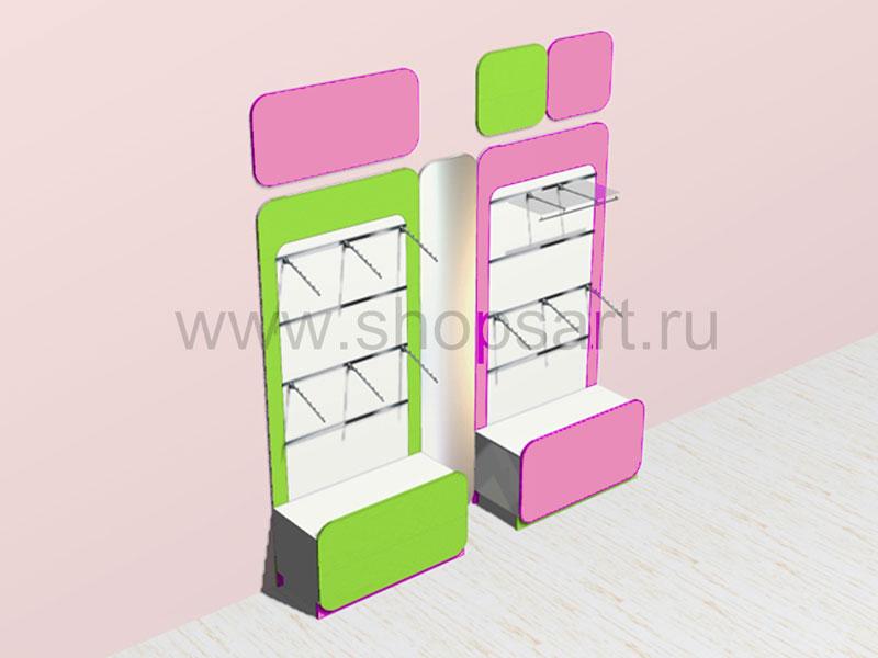 Стеллажи в декоративных рамах с цветными декоративными панелями с навеской и накопителями 2 Акварели