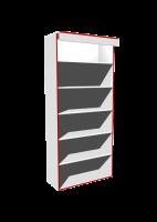 Стеллаж пристенный Стеллаж из ЛДСП, задняя стенка ДВП, 5 полок (6 объемов), регулируемые опоры, возможность перестановки полок с заданным шагом.  Возможные размеры (мм):  Длина/Глубина/Высота  700/300/1800  800/400/2000  900/500/2200 1000/-/