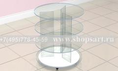 Стол торговый стеклянный круглый торговое оборудование ЛАСКАНА