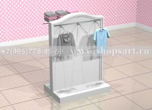 Стойка островная для одежды двусторонняя на подиуме с навеской и вертикальными стойками 1400х1000х900