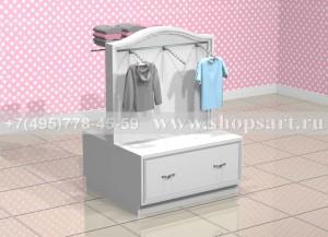 Стойка для одежды островная с накопителем с раскладкой и навеской H-1400х1000х900мм.