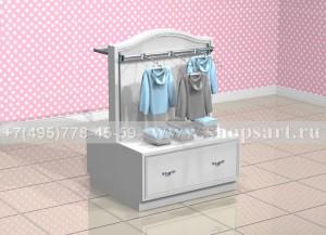 Стойка  островная для одежды с накопителем и навеской  на ве