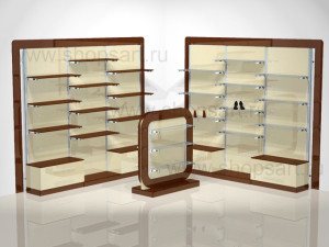 Торговое оборудование для магазинов обуви из пристенных стеллажей с островной стойкой,  на базе перфорированных стоек 40х40х2400мм