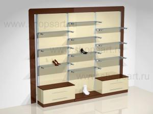 Стеллажи пристенные обувные, на базе перфорированной стойки 40х40х2400мм (хром).