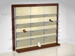 Блок стеллажей для обуви стеклянные полки подиумы КОФЕ С МОЛОКОМ