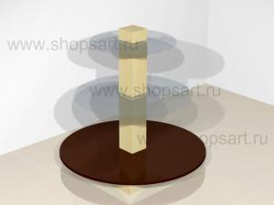 Стойка островная круглая со стеклянными полками- елка 1050х1150х1150мм.