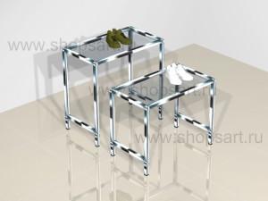 Столики демонстрационные стеклянные на хромированном металлическом каркасе 700х550х400мм; 700х700х400мм.