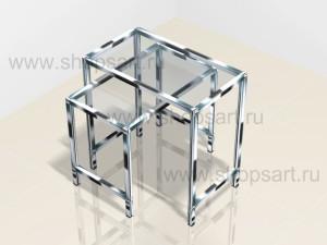 Столики стеклянные на хромированном металлическом каркасе 700х550х400мм; 700х700х400мм.