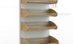Стеллаж металлический с деревянными корзинами  для продажи хлеба