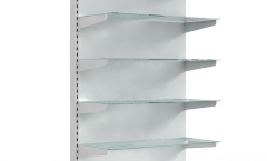 Стеллаж металлический пристенный со стеклянными полками