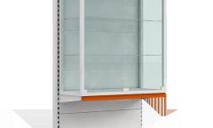 Стеллаж пристенный с витриной в верхней части
