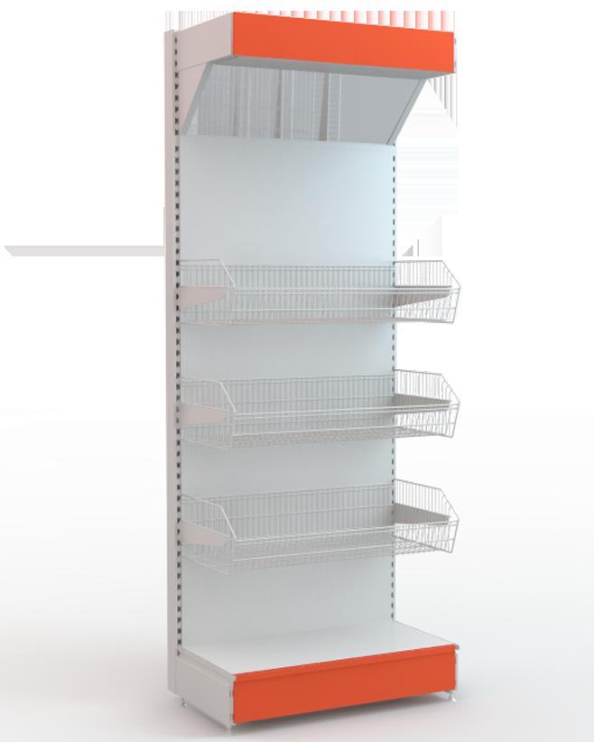 Стеллаж металлический пристенный с сетчатыми корзинами