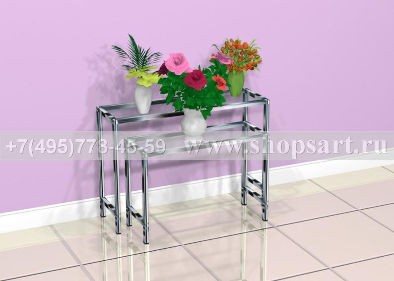 Стол демонстрационный для букетов 1200х400х600мм. Изготовлен из хромированных труб, верхнее покрытие стекло 8мм. Скамьи используются для продажи букетов и горшечных растений.