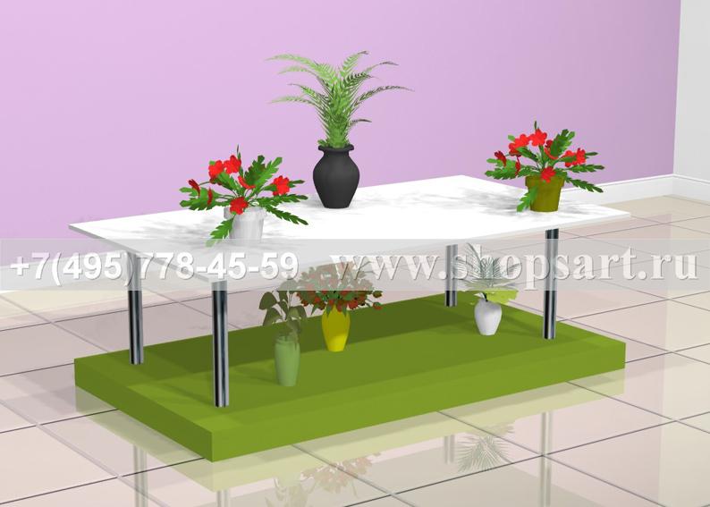 Подиум для продажи цветов1700х7000х800мм. Изготовлен из ЛДСП. На подиуме для цветов удобно располагать высокие растения в горшках и дорогие букеты.