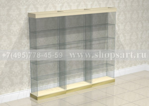 Витрины стеклянные на подиумах, открытые, размер 2200х350х900мм