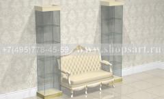 Витрина стеклянная с диваном