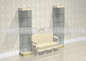 Витрины стеклянные с диваном.