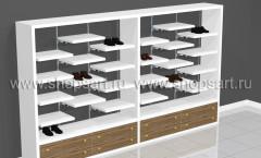 Блок торговых стеллажей для обуви с белыми полками ГЛАМУР