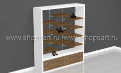 Торговый стеллаж для обуви с полками вида натурального дерева ГЛАМУР
