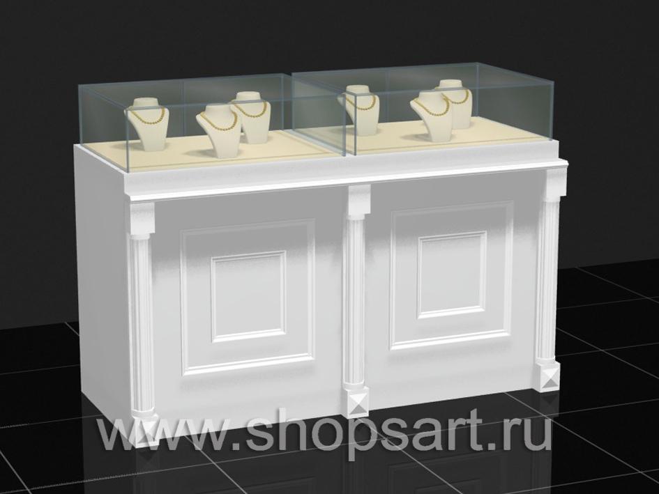 Прилавки для ювелирных украшений, из ЛДСП белого цвета, с декоративными элементами из массива дуба.