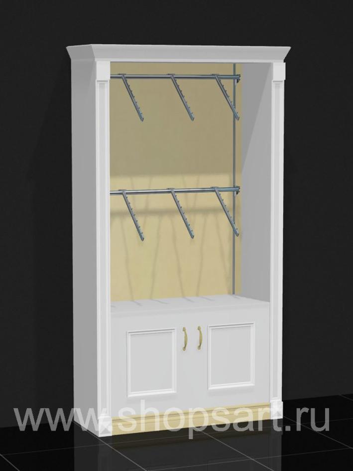 Шкаф торговый пристенный накопитель дверки Белая классика
