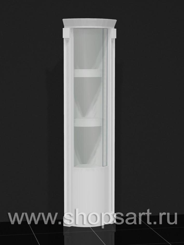 Витрина угловая радиусная, с малированным (гнутым стеклом)